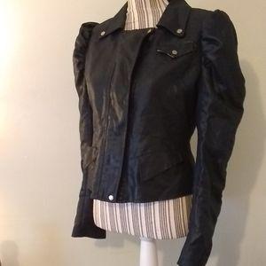 Gracia Black Faux Leather Jacket w/ Slashed Back